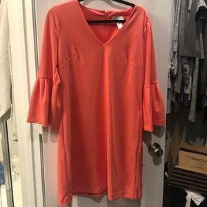 Donna Morgan bell sleeve v neck dress *coral*